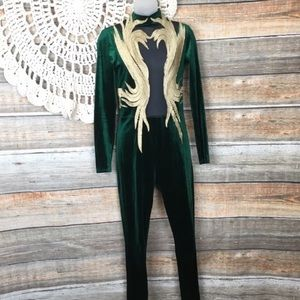 Green/Gold Small Velvet Jumpsuit or Cosplay